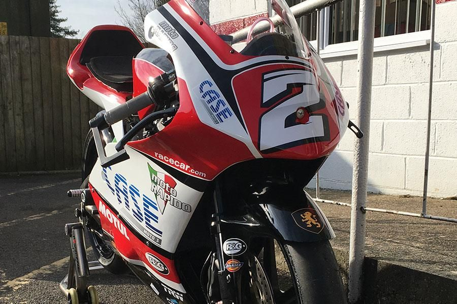 Racecar supported rider Thomas Strudwick rides for Moto Rapido in 2017 BSB