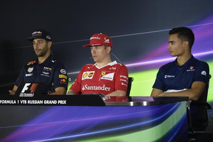 Russian Grand Prix Drivers' conference  with Racecar's Kimi Raikkonen