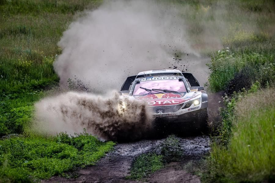 Peugeot dream team lock out Silk Way Rally front row