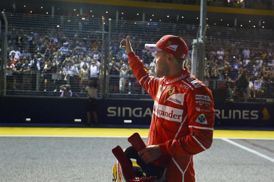 Vettel on pole in Singapore