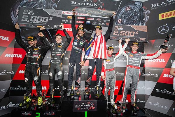 Gilbert and Patel keep Blancpain GT title dream alive with victory at wet Zhejiang