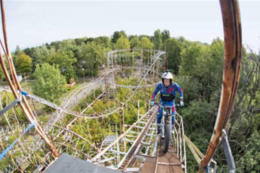 Dougie Lampkin finding adrenaline rushes at abandoned Milan theme park