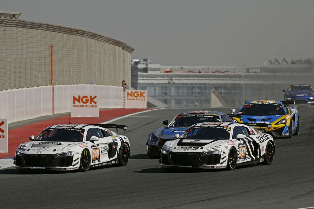 One-two premiere victory for GT4 version of the Audi R8 LMS at 24h Dubai