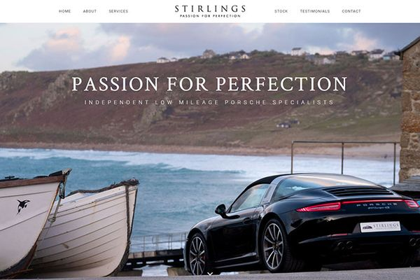 Porsche dealer - Stirlings - new web site by Racecar