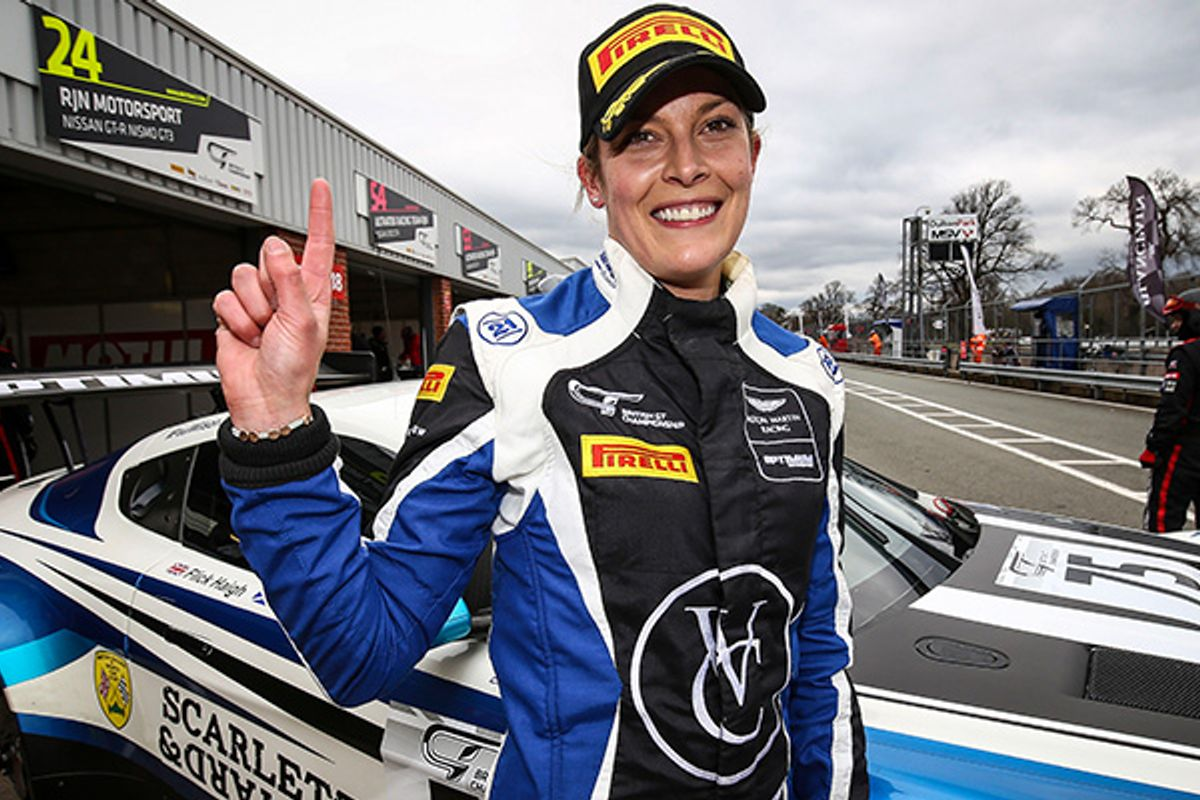 Flick Haigh becomes first woman to claim outright British GT pole