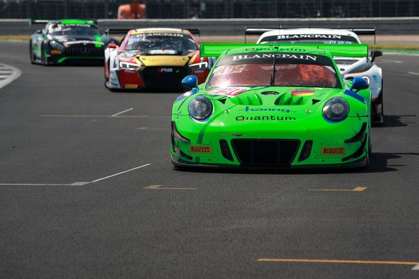 Class podium for Porsche 911 GT3 R at Blancpain GT Series Endurance Cup, Silverstone