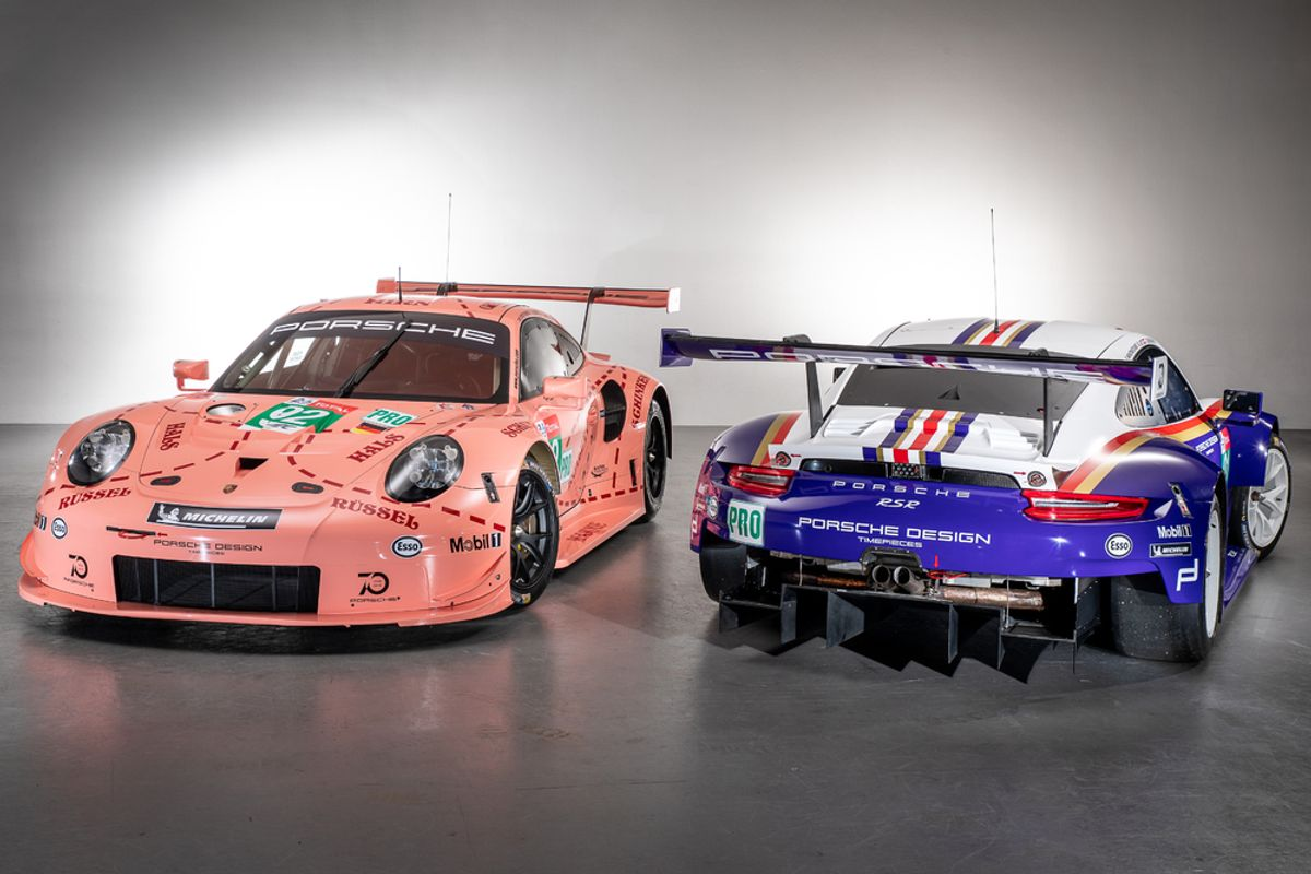 Two Porsche 911 RSR compete in historic livery at this year's 24 Hours of Le Mans