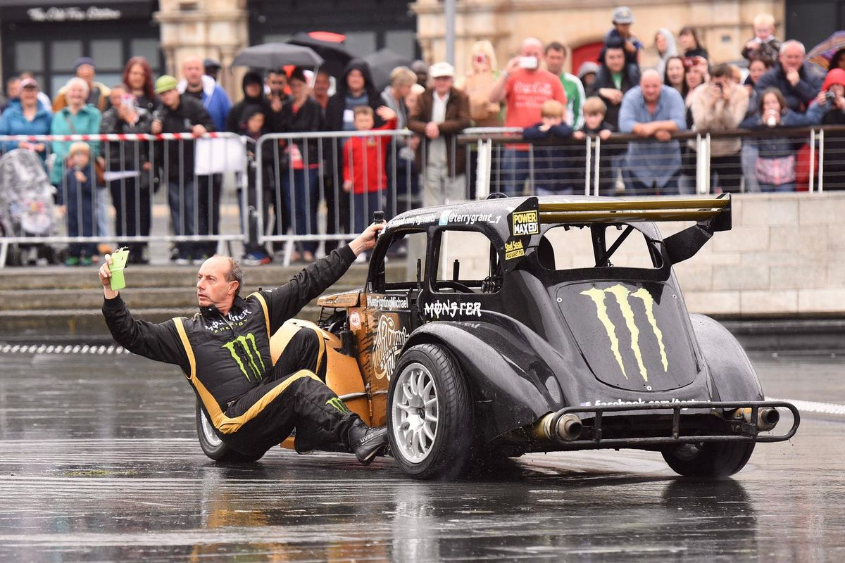 World record holder Terry Grant debuts his Stunt Show at Silverstone Classic