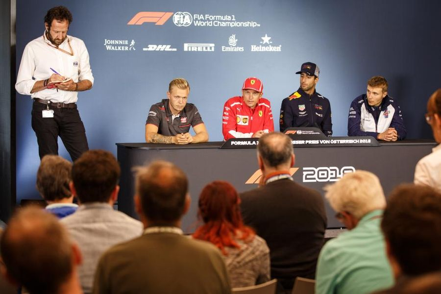 Kimi sits in at the Austrian GP drivers' conference