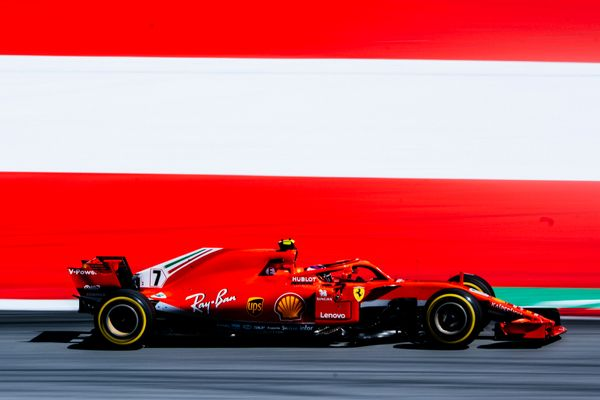 Kimi on the second step of the podium for Austrian Grand Prix