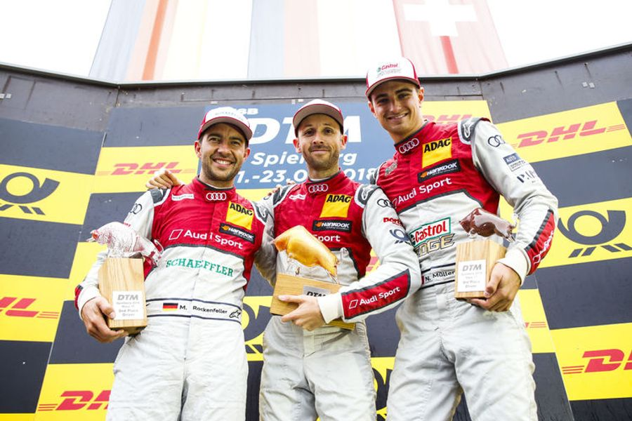 Audi celebrates unexpected one-two-three in DTM thriller