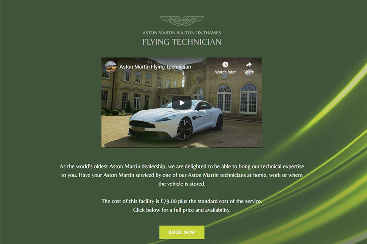 Aston Martin Mobile Servicing - Flying Technician