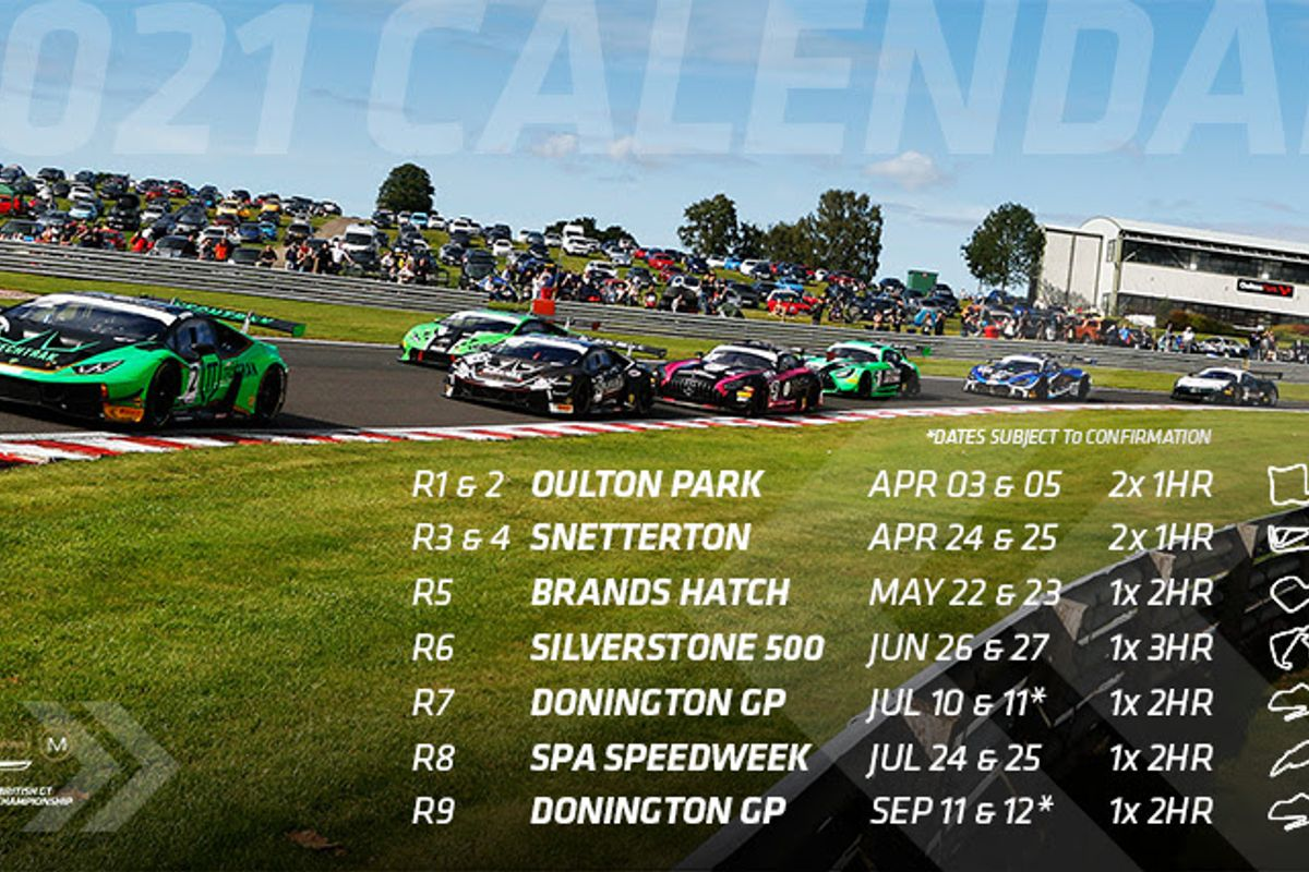 British GT Championship 2021 calendar and revised class structure revealed