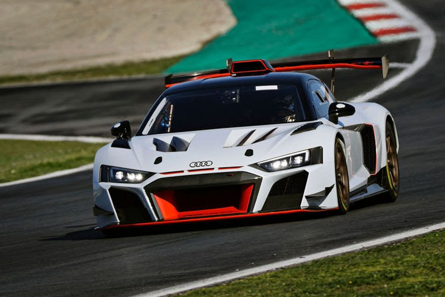 18 Audi R8 LMS cars on the grid at Monza